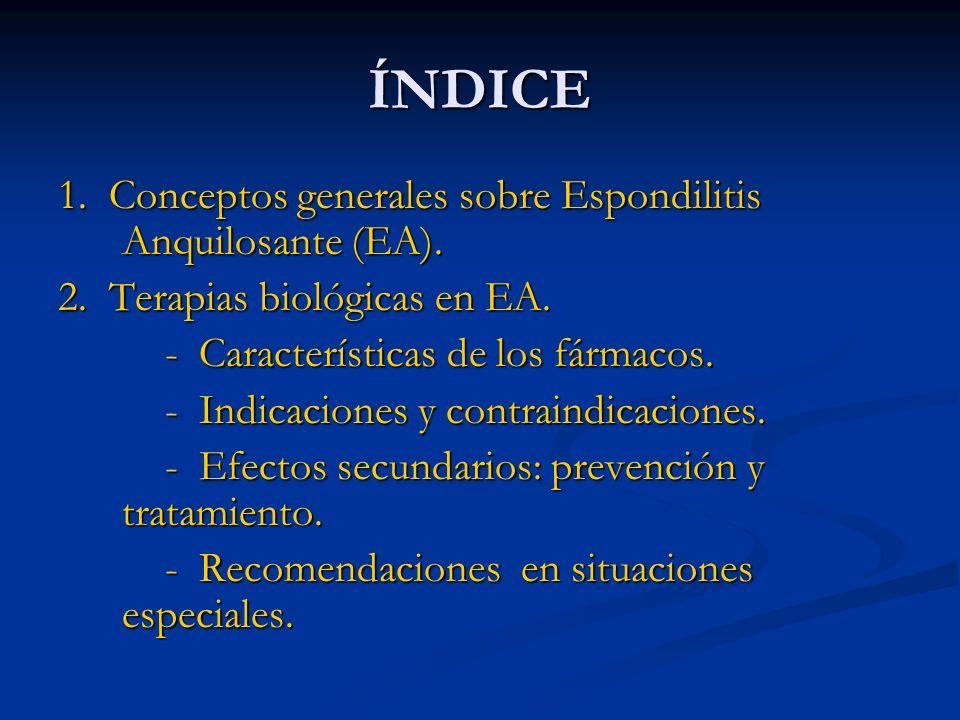ÍNDICE 1. Conceptos generales sobre Espondilitis Anquilosante (EA).
