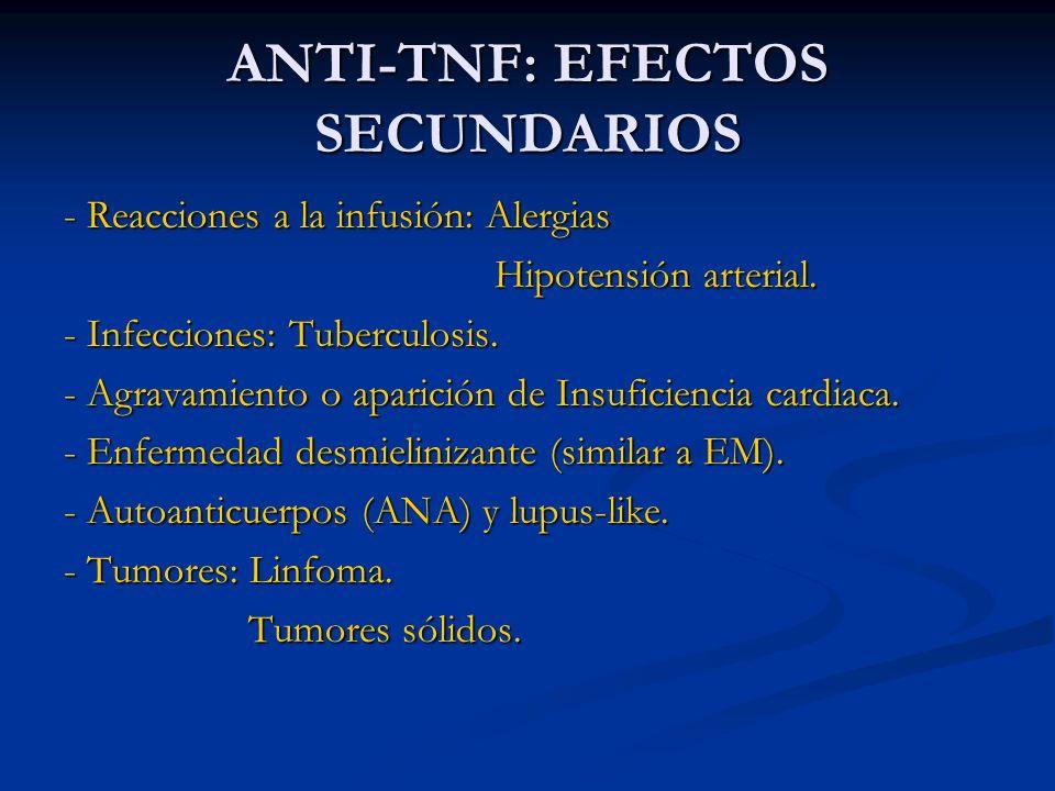 ANTI-TNF: EFECTOS SECUNDARIOS