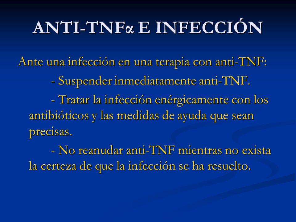 ANTI-TNFα E INFECCIÓN Ante una infección en una terapia con anti-TNF: