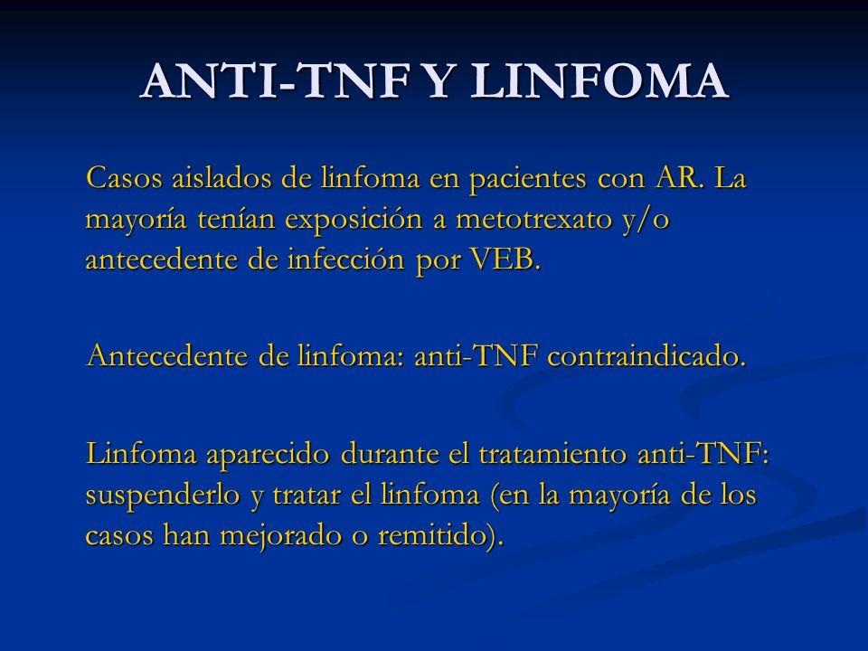 ANTI-TNF Y LINFOMA Casos aislados de linfoma en pacientes con AR. La mayoría tenían exposición a metotrexato y/o antecedente de infección por VEB.