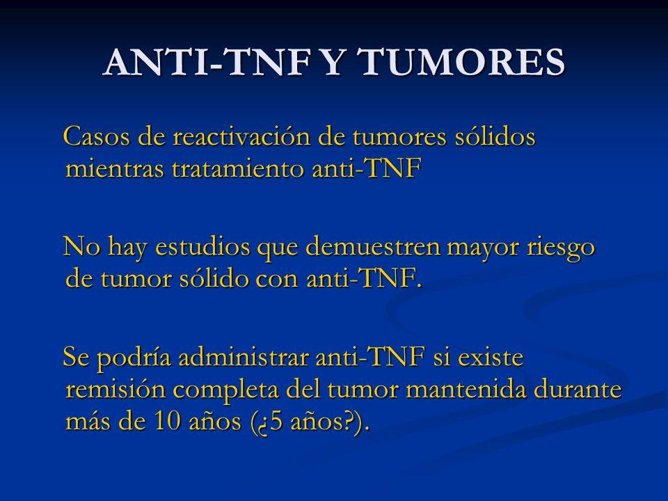ANTI-TNF Y TUMORES Casos de reactivación de tumores sólidos mientras tratamiento anti-TNF.