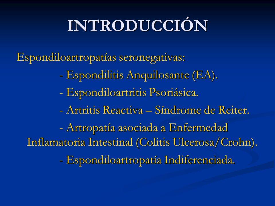 INTRODUCCIÓN Espondiloartropatías seronegativas: