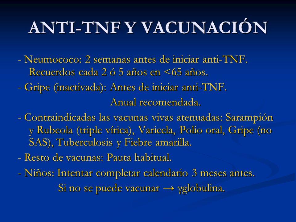 ANTI-TNF Y VACUNACIÓN - Neumococo: 2 semanas antes de iniciar anti-TNF. Recuerdos cada 2 ó 5 años en <65 años.