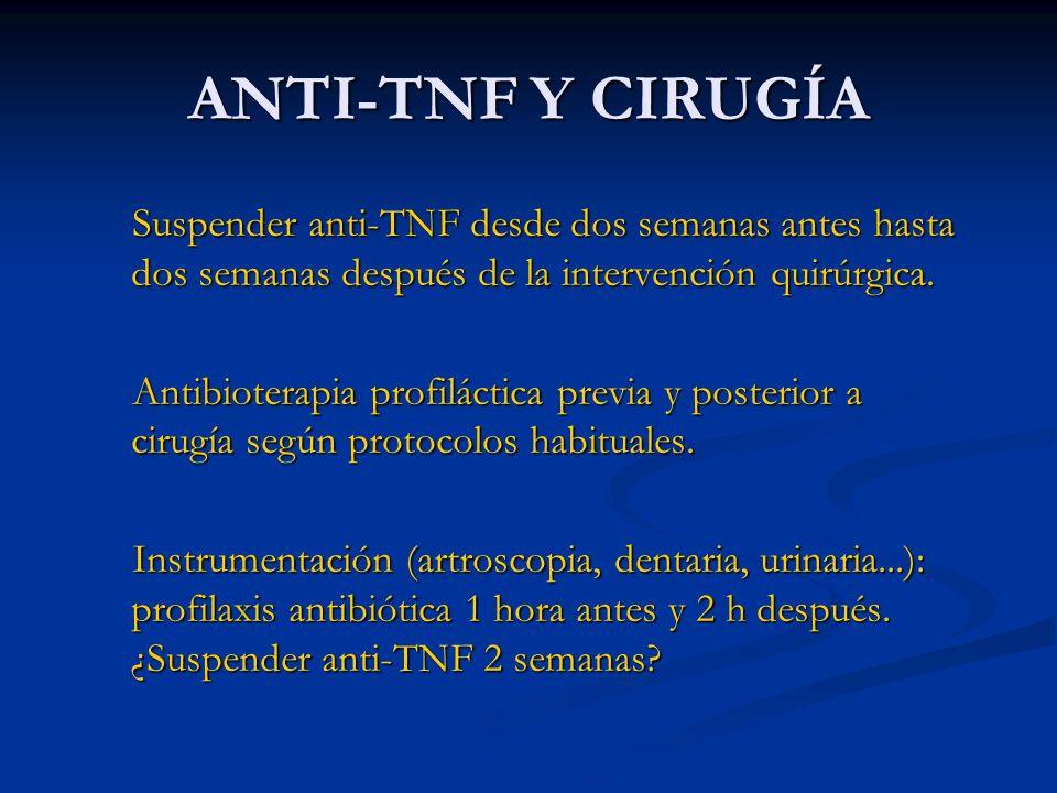 ANTI-TNF Y CIRUGÍA Suspender anti-TNF desde dos semanas antes hasta dos semanas después de la intervención quirúrgica.