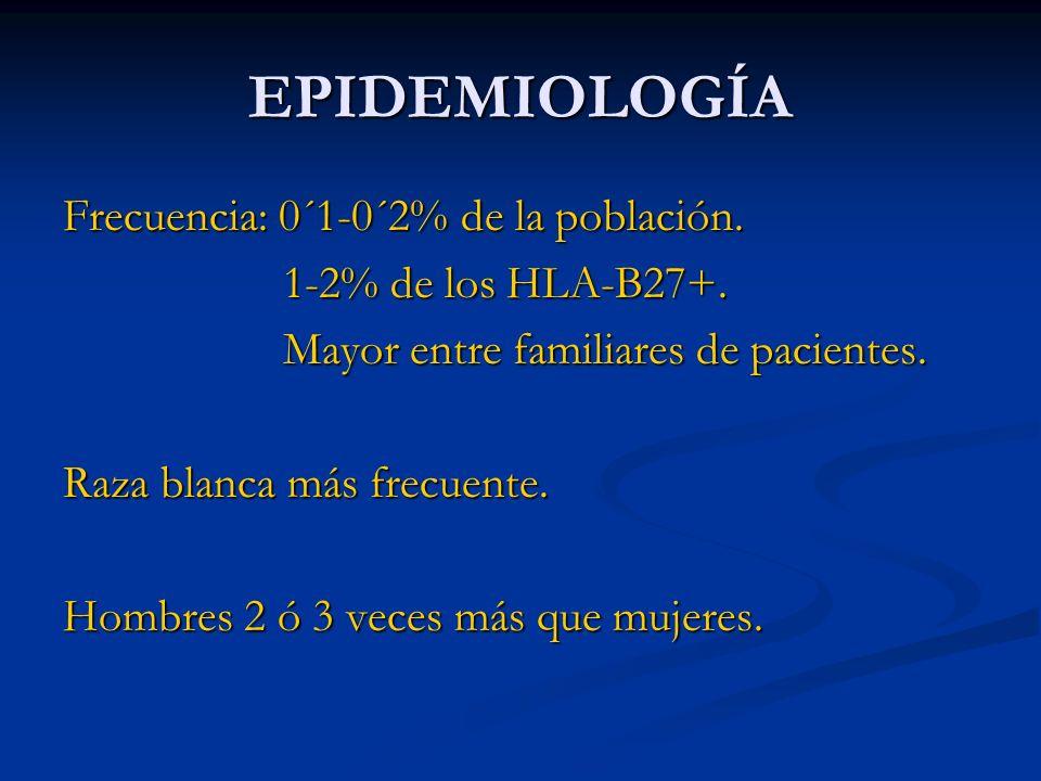 EPIDEMIOLOGÍA Frecuencia: 0´1-0´2% de la población.