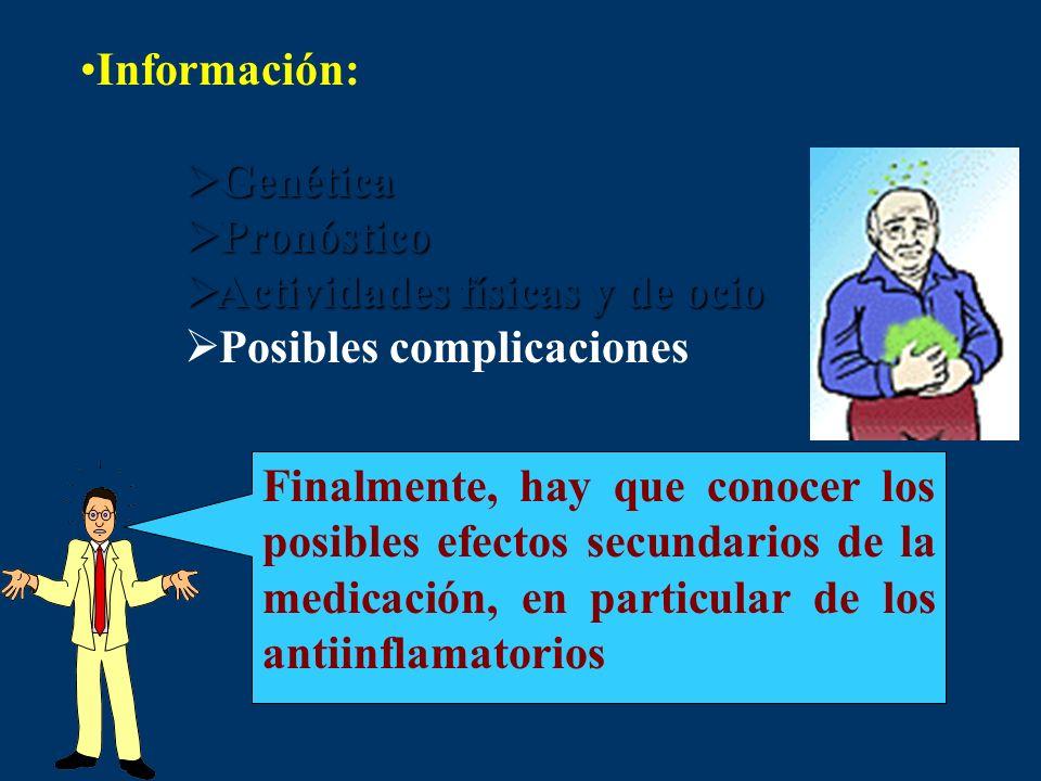 Información: Genética. Pronóstico. Actividades físicas y de ocio. Posibles complicaciones.
