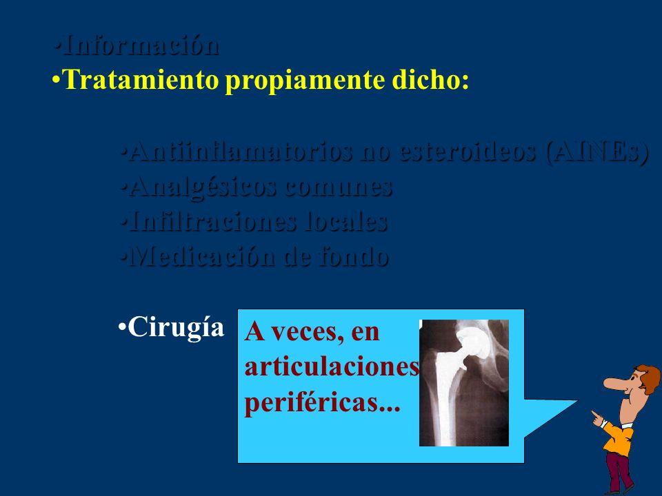 Información Tratamiento propiamente dicho: Antiinflamatorios no esteroideos (AINEs) Analgésicos comunes.