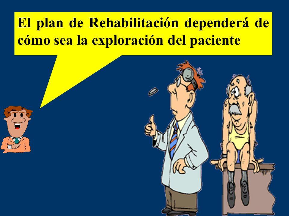 El plan de Rehabilitación dependerá de cómo sea la exploración del paciente