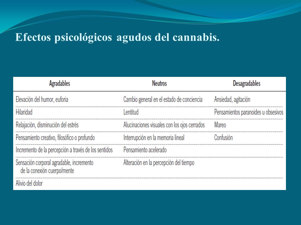 Efectos psicológicos agudos del cannabis.