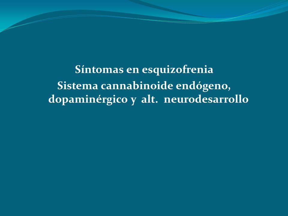 Síntomas en esquizofrenia Sistema cannabinoide endógeno, dopaminérgico y alt. neurodesarrollo