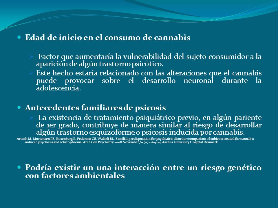Edad de inicio en el consumo de cannabis