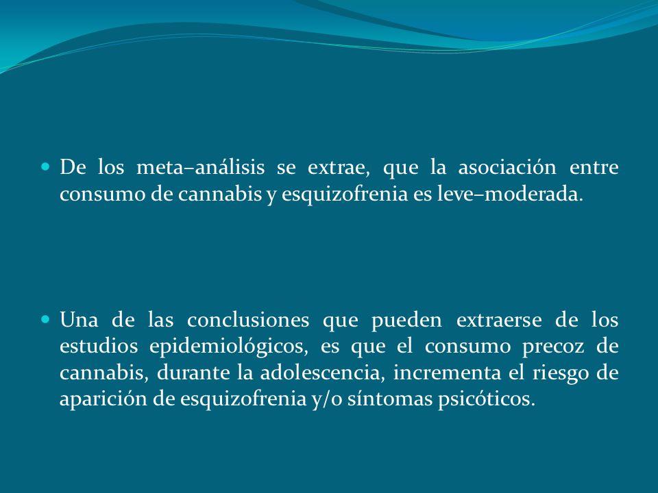 ConclusionesDe los meta–análisis se extrae, que la asociación entre consumo de cannabis y esquizofrenia es leve–moderada.