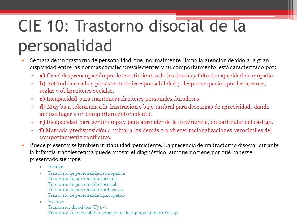 CIE 10: Trastorno disocial de la personalidad