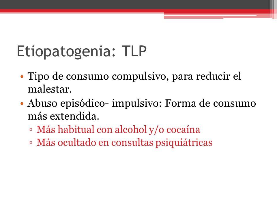 Etiopatogenia: TLP Tipo de consumo compulsivo, para reducir el malestar. Abuso episódico- impulsivo: Forma de consumo más extendida.