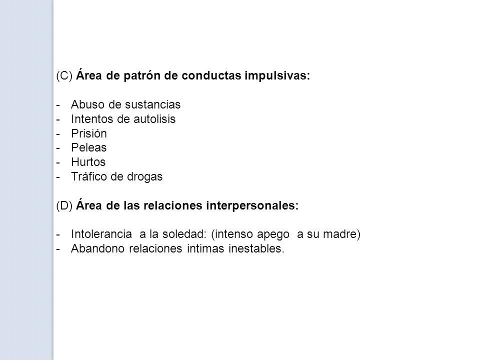 (C) Área de patrón de conductas impulsivas: