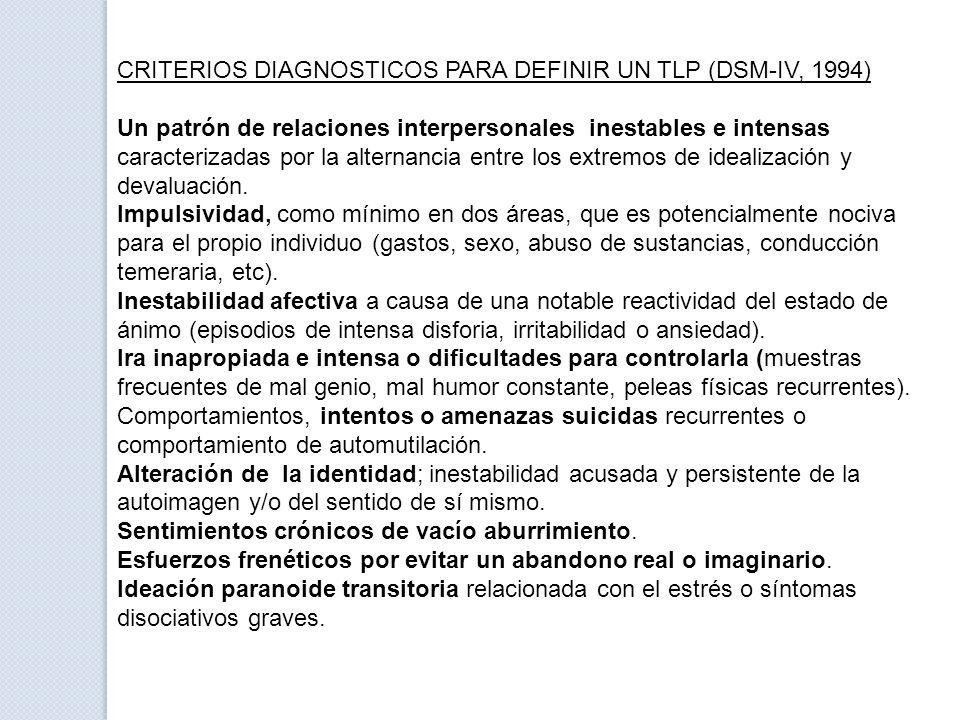 CRITERIOS DIAGNOSTICOS PARA DEFINIR UN TLP (DSM-IV, 1994)
