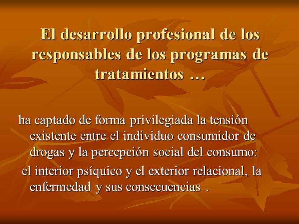 El desarrollo profesional de los responsables de los programas de tratamientos …