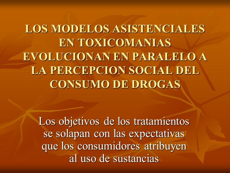 LOS MODELOS ASISTENCIALES EN TOXICOMANIAS EVOLUCIONAN EN PARALELO A LA PERCEPCION SOCIAL DEL CONSUMO DE DROGAS