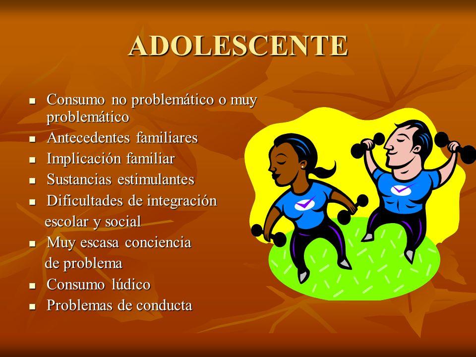 ADOLESCENTE Consumo no problemático o muy problemático