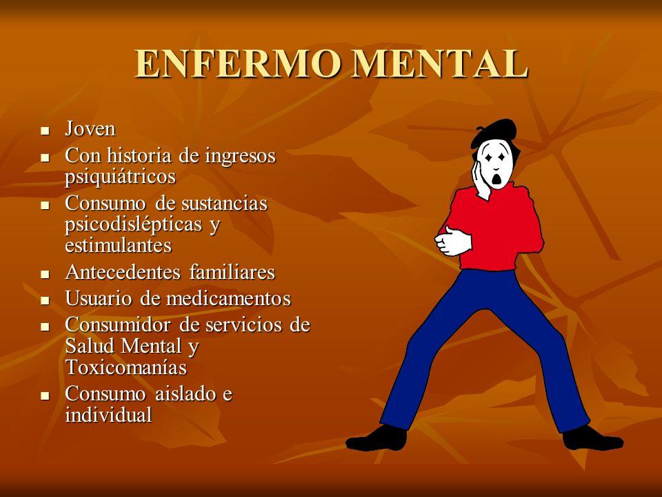 ENFERMO MENTAL Joven Con historia de ingresos psiquiátricos