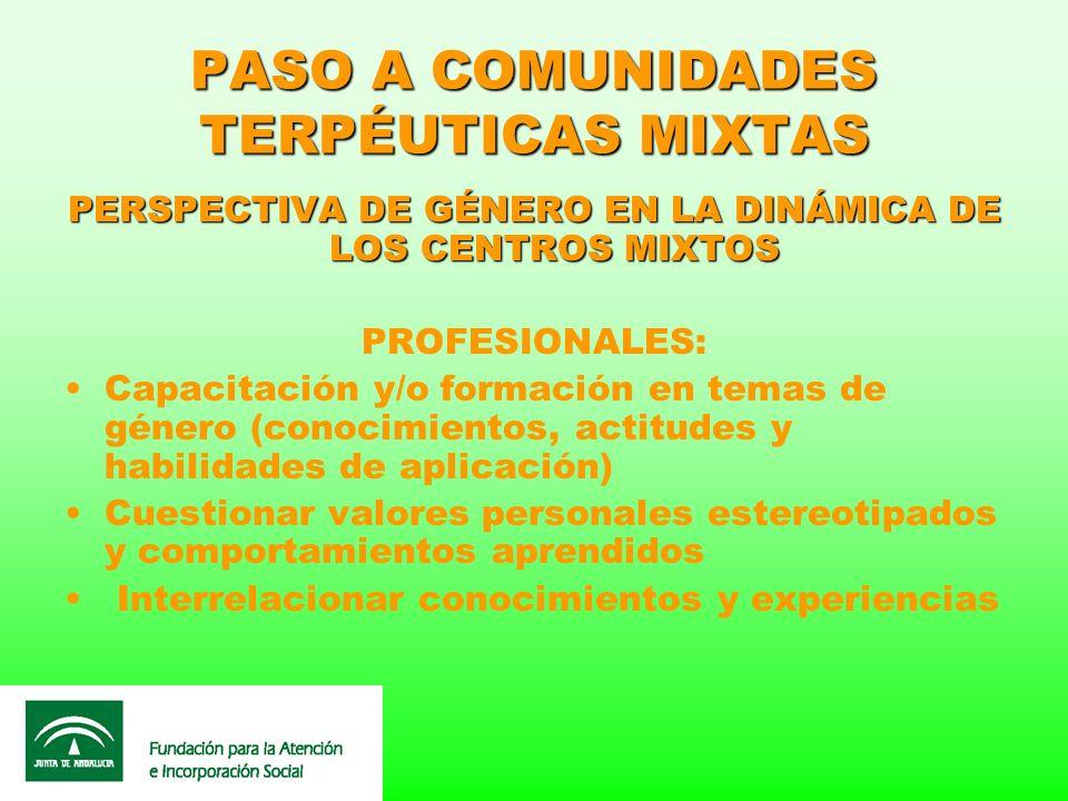 PASO A COMUNIDADES TERPÉUTICAS MIXTAS