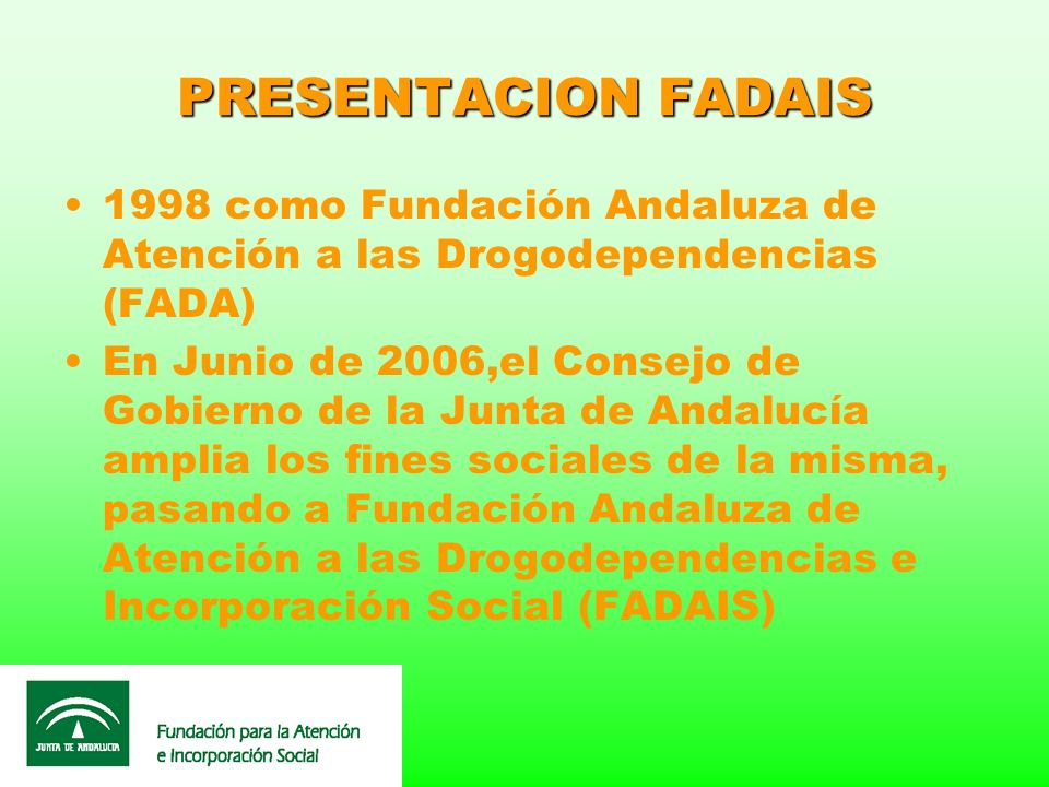 PRESENTACION FADAIS 1998 como Fundación Andaluza de Atención a las Drogodependencias (FADA)