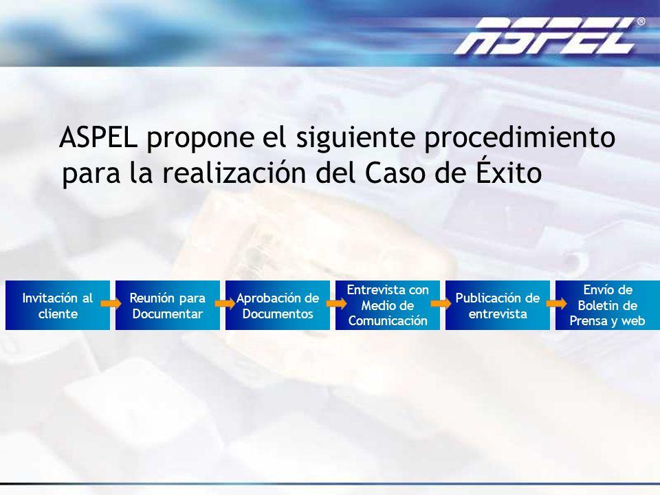 ASPEL propone el siguiente procedimiento para la realización del Caso de Éxito