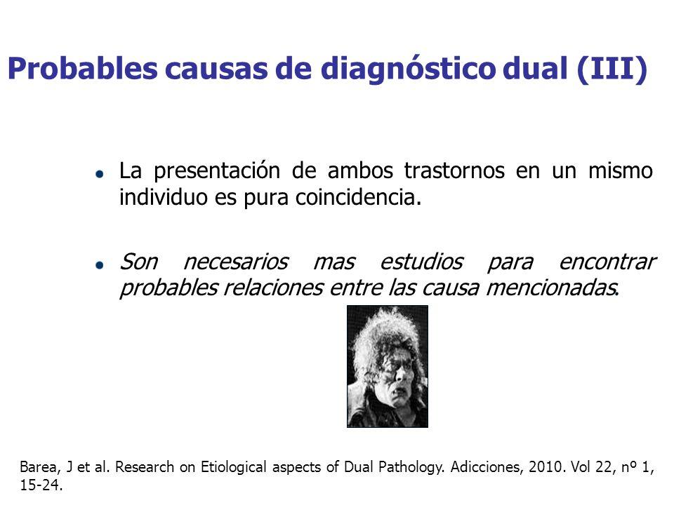 Probables causas de diagnóstico dual (III)