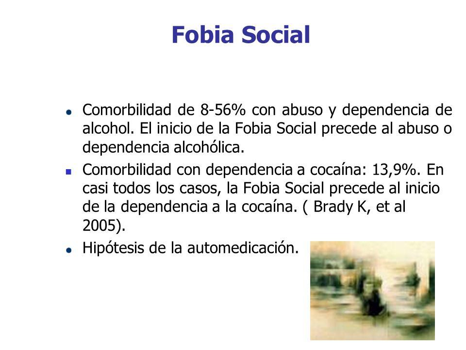 Fobia Social Comorbilidad de 8-56% con abuso y dependencia de alcohol. El inicio de la Fobia Social precede al abuso o dependencia alcohólica.