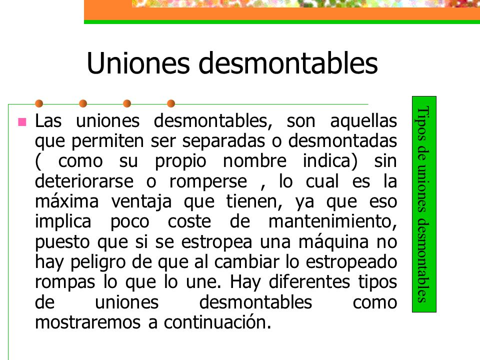 Tipos de uniones desmontables