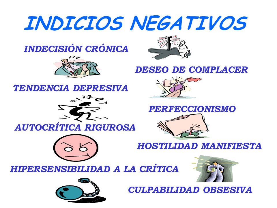 INDICIOS NEGATIVOS INDECISIÓN CRÓNICA DESEO DE COMPLACER