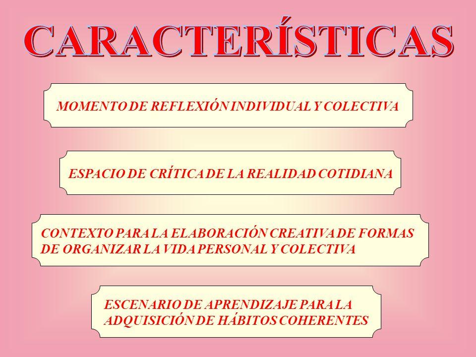 CARACTERÍSTICAS MOMENTO DE REFLEXIÓN INDIVIDUAL Y COLECTIVA