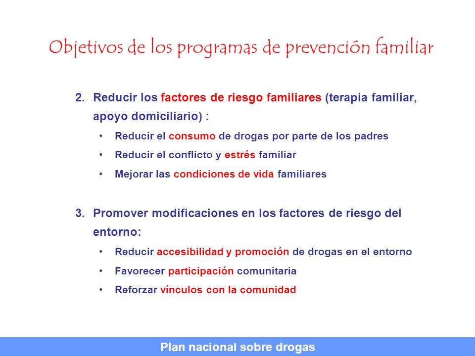Objetivos de los programas de prevención familiar