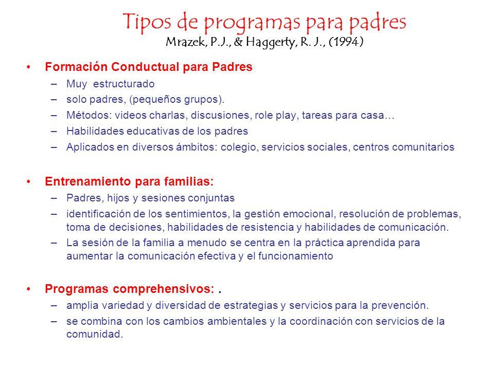 Tipos de programas para padres Mrazek, P.J., & Haggerty, R. J., (1994)