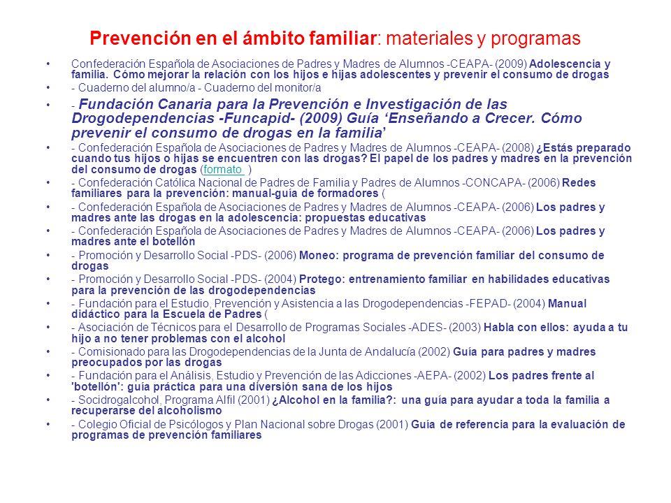 Prevención en el ámbito familiar: materiales y programas