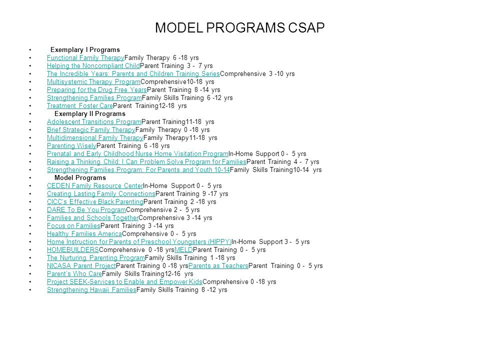 MODEL PROGRAMS CSAP Exemplary I Programs
