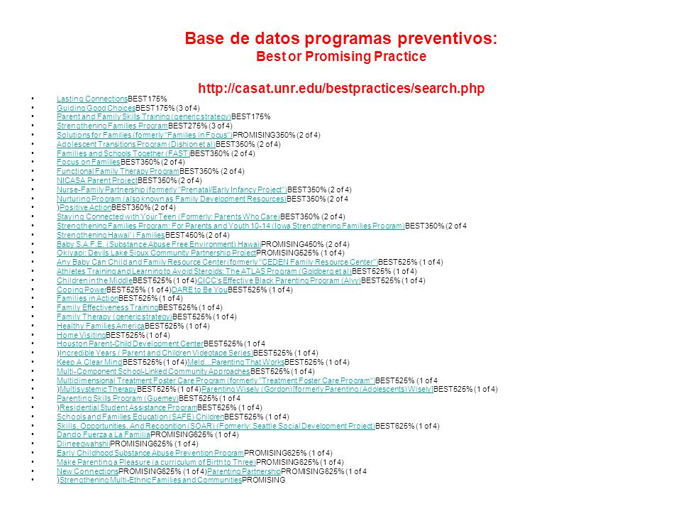 Base de datos programas preventivos: Best or Promising Practice http://casat.unr.edu/bestpractices/search.php