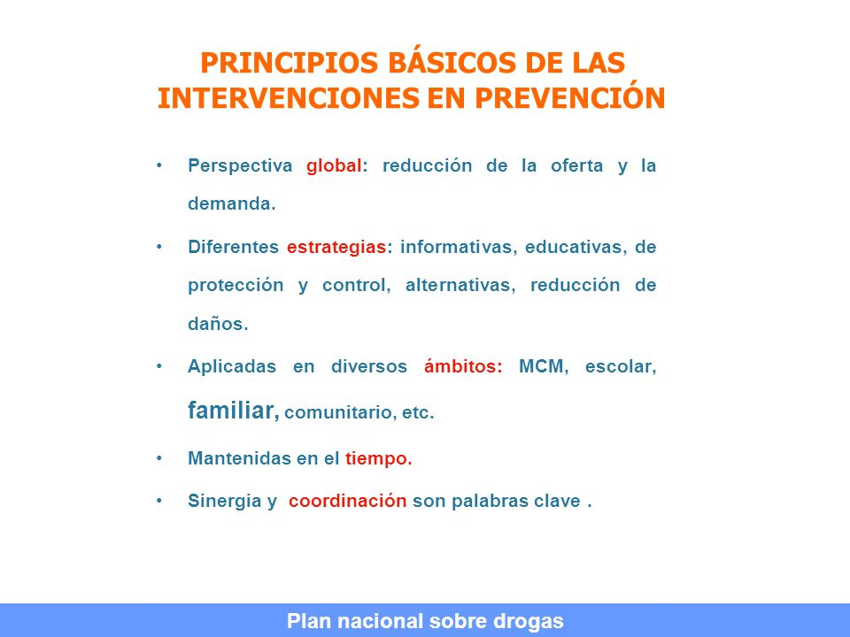 PRINCIPIOS BÁSICOS DE LAS INTERVENCIONES EN PREVENCIÓN