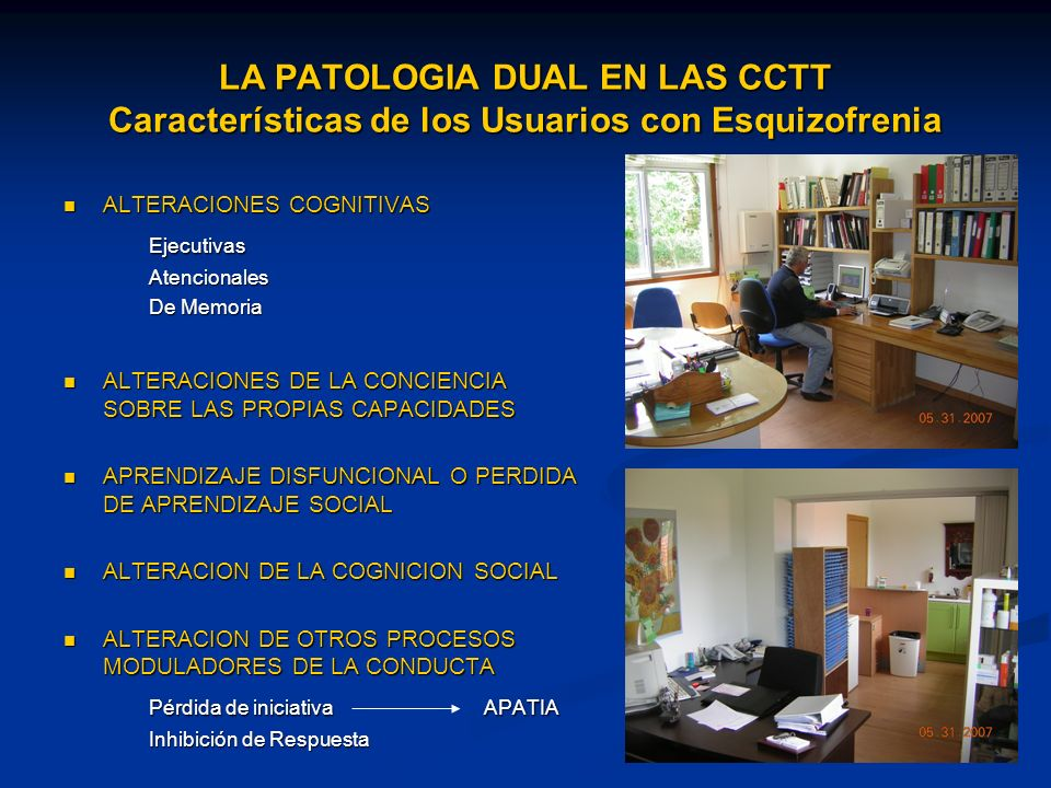 LA PATOLOGIA DUAL EN LAS CCTT Características de los Usuarios con Esquizofrenia