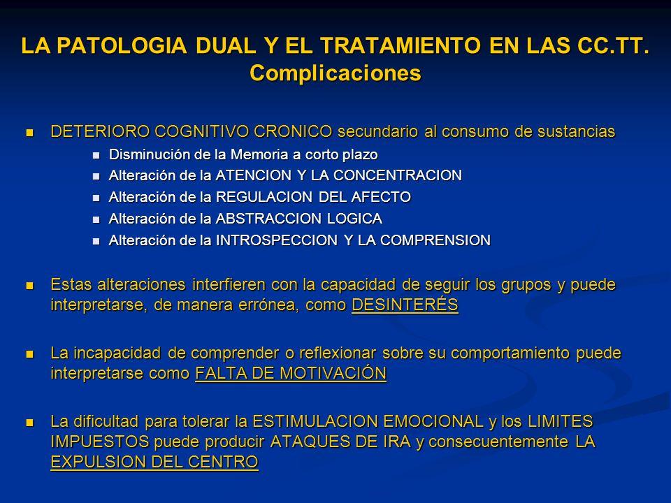 LA PATOLOGIA DUAL Y EL TRATAMIENTO EN LAS CC.TT. Complicaciones