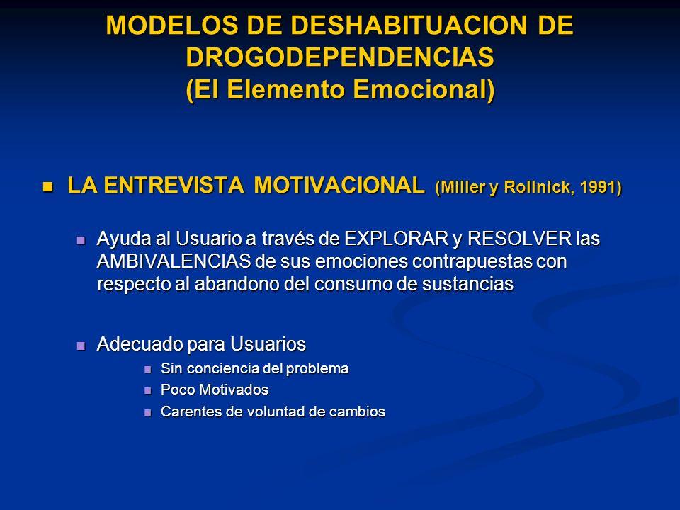 MODELOS DE DESHABITUACION DE DROGODEPENDENCIAS (El Elemento Emocional)