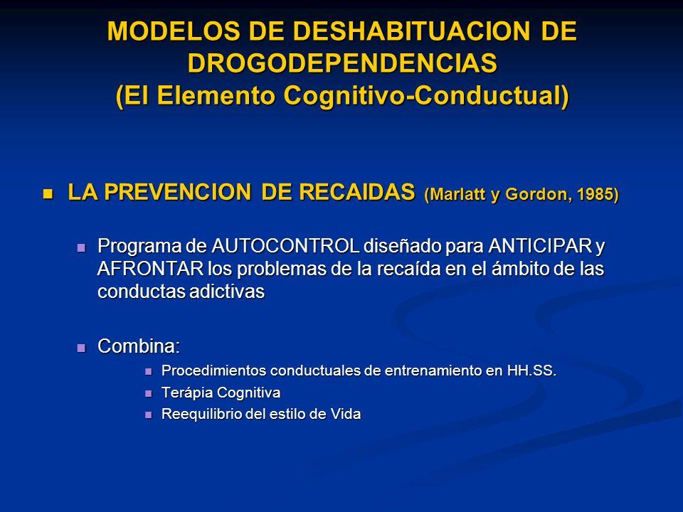 MODELOS DE DESHABITUACION DE DROGODEPENDENCIAS (El Elemento Cognitivo-Conductual)