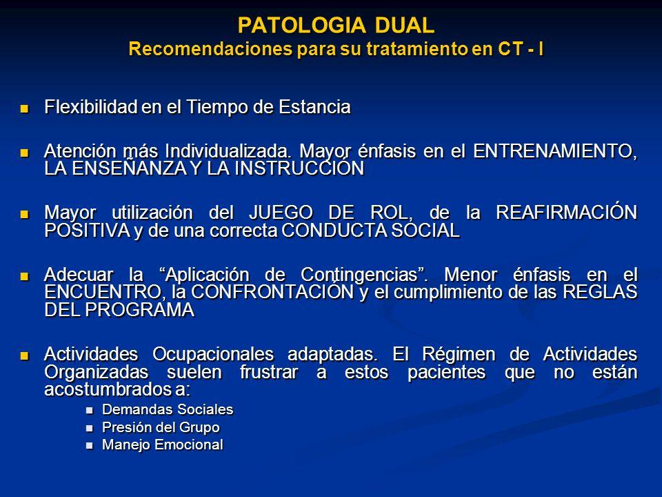 PATOLOGIA DUAL Recomendaciones para su tratamiento en CT - I