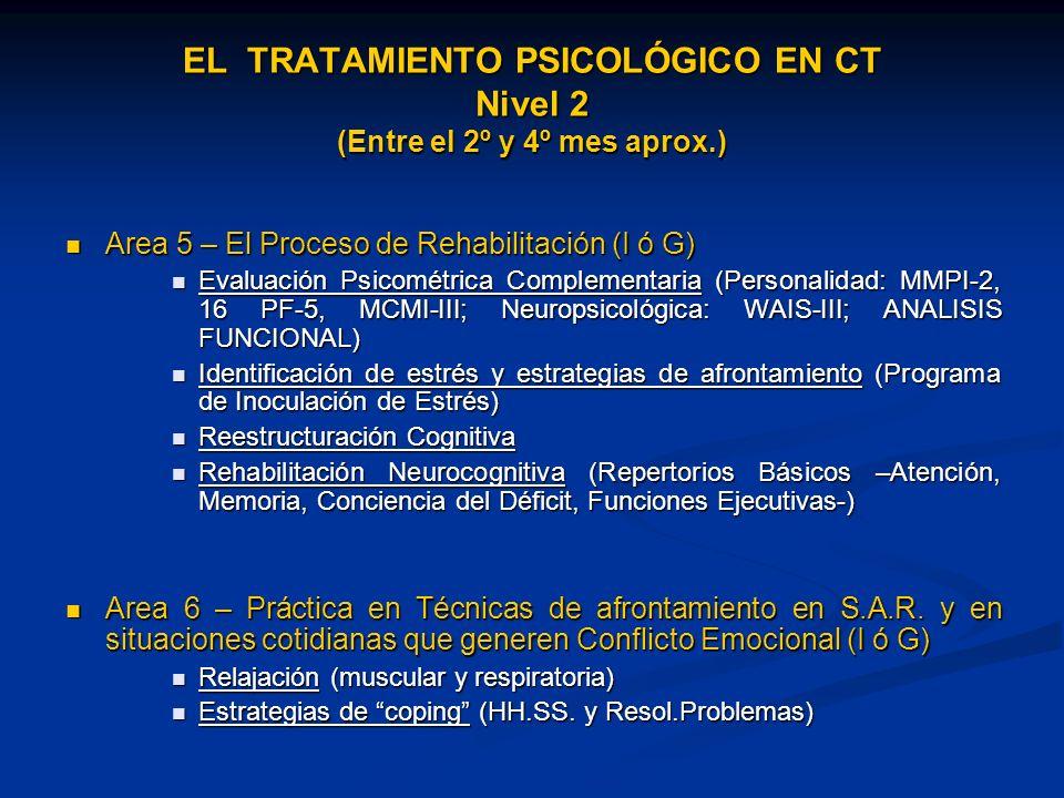 EL TRATAMIENTO PSICOLÓGICO EN CT Nivel 2 (Entre el 2º y 4º mes aprox.)