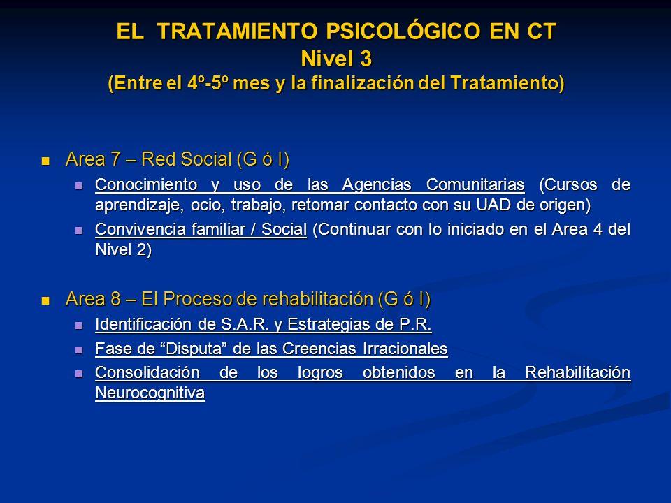 EL TRATAMIENTO PSICOLÓGICO EN CT Nivel 3 (Entre el 4º-5º mes y la finalización del Tratamiento)