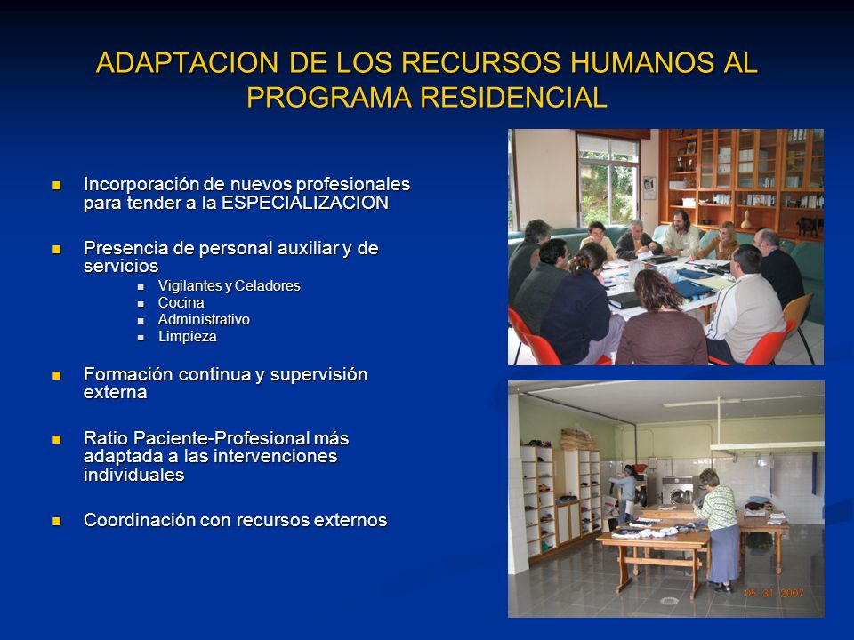 ADAPTACION DE LOS RECURSOS HUMANOS AL PROGRAMA RESIDENCIAL