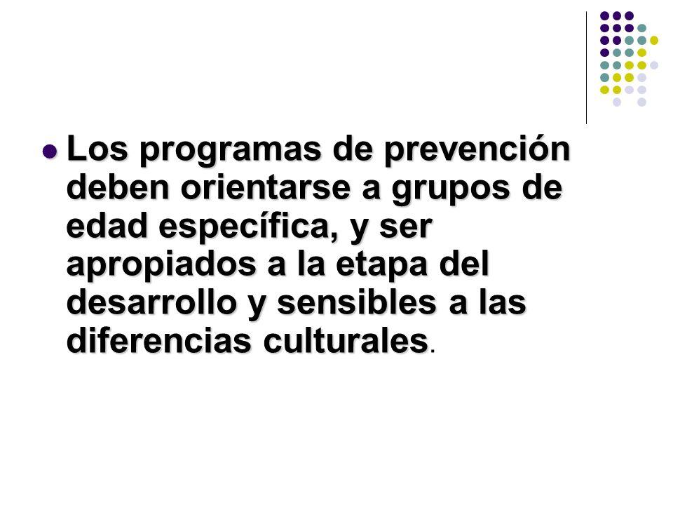 Los programas de prevención deben orientarse a grupos de edad específica, y ser apropiados a la etapa del desarrollo y sensibles a las diferencias culturales.