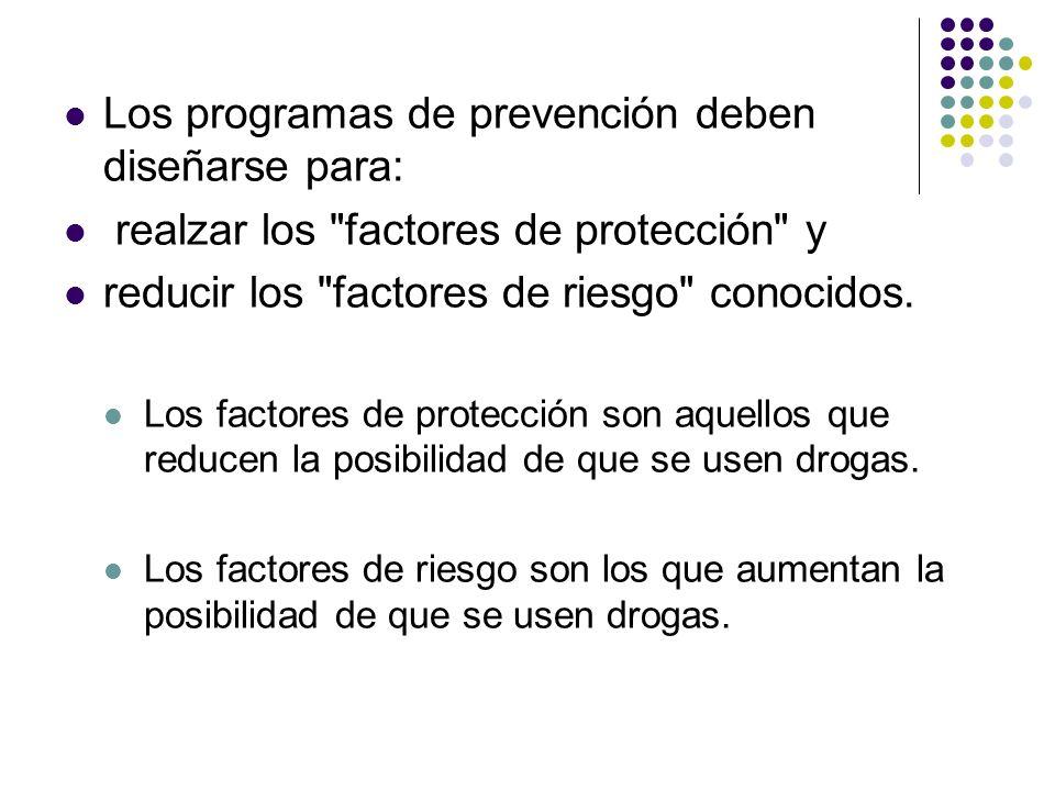 Los programas de prevención deben diseñarse para:
