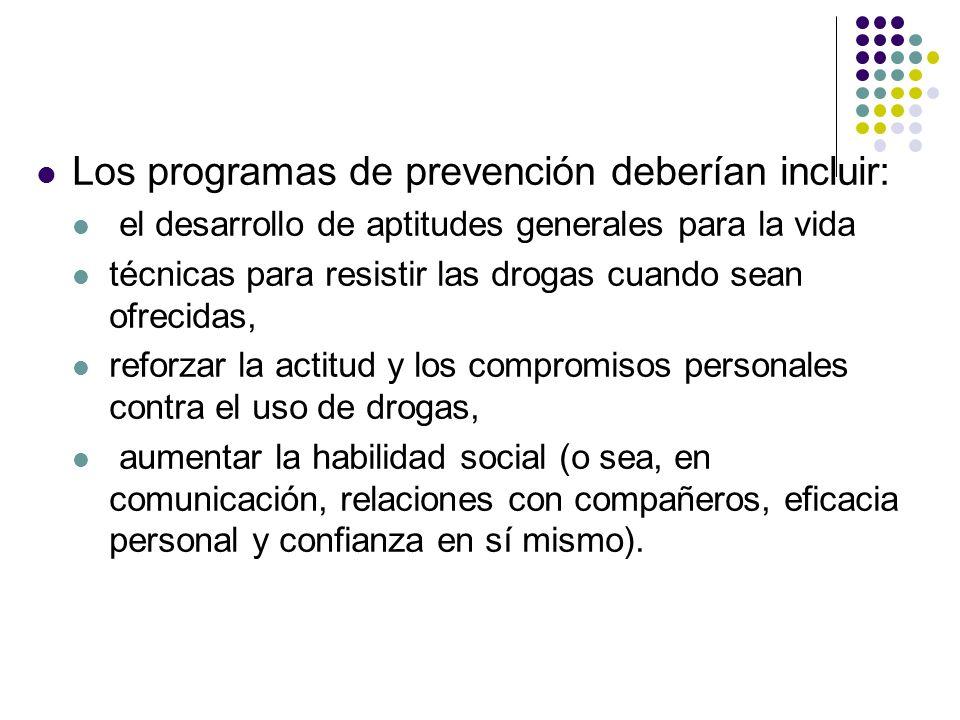 Los programas de prevención deberían incluir: