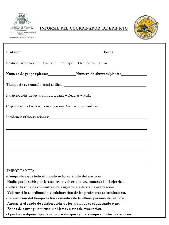 INFORME DEL COORDINADOR DE EDIFICIO